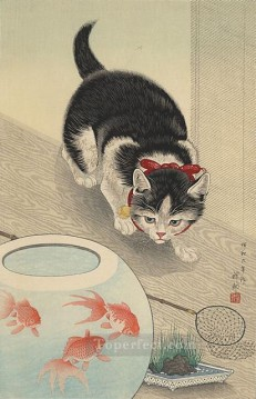 goldfish Works - cat and bowl of goldfish 1933 Ohara Koson Shin hanga