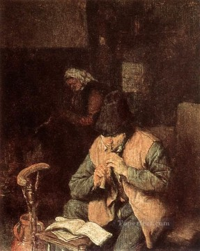 painter Canvas - Flute Player Dutch genre painters Adriaen van Ostade