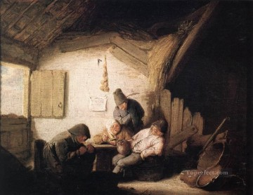 Painters Art - Village Tavern With Four Figures Dutch genre painters Adriaen van Ostade