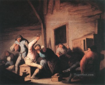 Carousing Peasants In A Tavern Dutch genre painters Adriaen van Ostade Decor Art