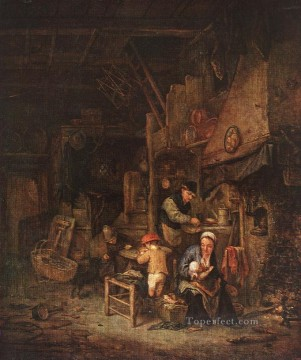 Painters Art - Interior With A Peasant Family Dutch genre painters Adriaen van Ostade