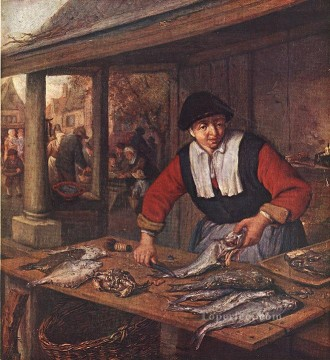 painter Oil Painting - The Fishwife Dutch genre painters Adriaen van Ostade