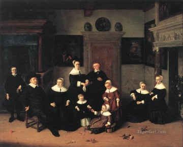 Painters Art - Portrait Of A Family Dutch genre painters Adriaen van Ostade