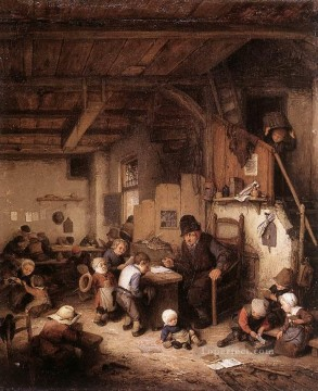 painter Oil Painting - The School Master Dutch genre painters Adriaen van Ostade