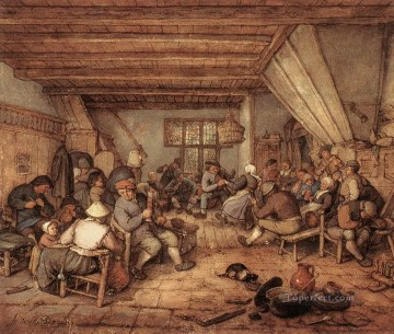 Painters Art - Feasting Peasants In A Tavern Dutch genre painters Adriaen van Ostade