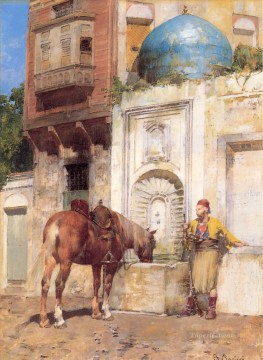 Alberto Pasini Painting - At the Well Alberto Pasini