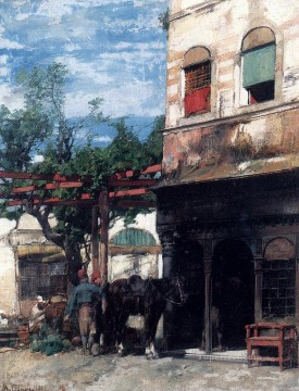 Alberto Pasini Painting - In The Courtyard Alberto Pasini