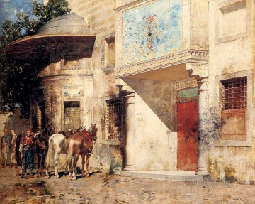 Alberto Pasini Painting - Outside The Mosque Alberto Pasini