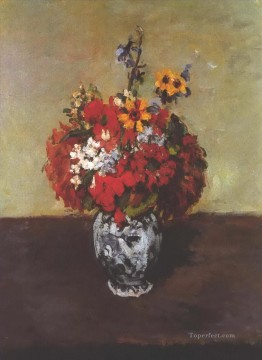 Dahlias In A Delft Vase Paul Cezanne Oil Paintings