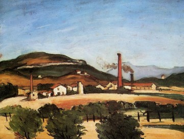 Cezanne Art Painting - Factories Near Mont de Cengle Paul Cezanne