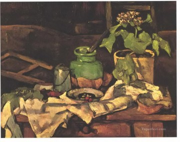 Cezanne Art Painting - Flower pot at a table Paul Cezanne