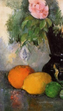 Fruit Painting - Flowers and Fruit Paul Cezanne
