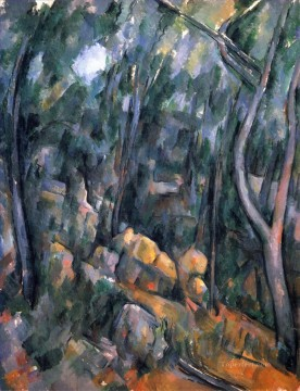 vagabonds resting in a cave Painting - Forest near the rocky caves above the Chateau Noir Paul Cezanne