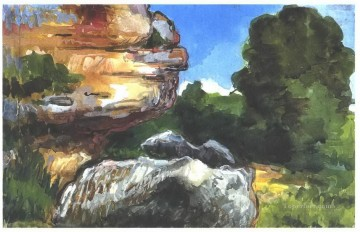 Cezanne Art Painting - Rocks Paul Cezanne