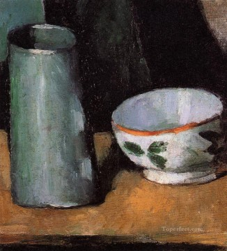 Cezanne Art Painting - Still Life Bowl and Milk Jug Paul Cezanne