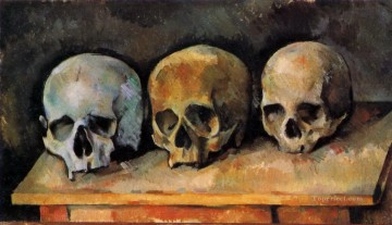 Cezanne Art Painting - The Three Skulls Paul Cezanne
