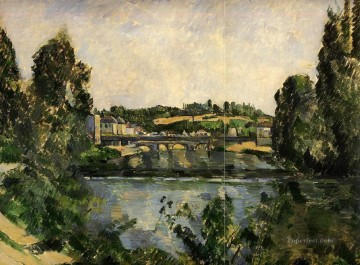 waterfall Painting - Bridge and Waterfall at Pontoise Paul Cezanne