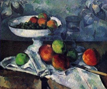glass Painting - Compotier Glass and Apples Paul Cezanne