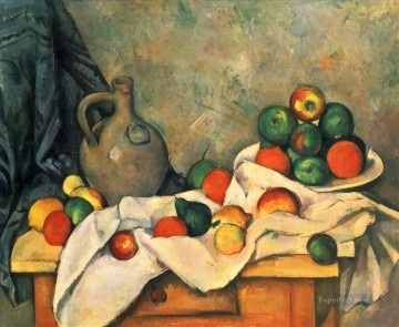 Fruit Painting - Curtain Jug and Fruit Paul Cezanne