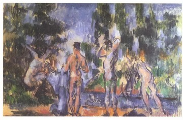 Paul Cezanne Painting - Four Bathers Paul Cezanne