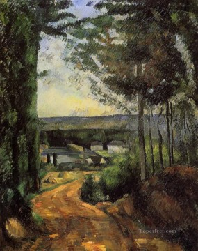 Lake Oil Painting - Road Trees and Lake Paul Cezanne