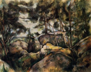 Cezanne Art Painting - Rocks at Fountainebleau Paul Cezanne