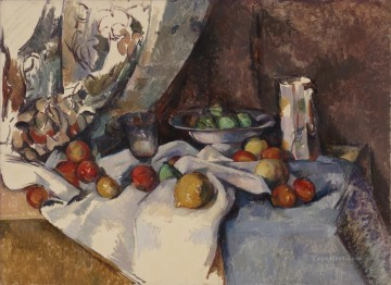 Fruit Painting - Still Life Post Bottle Cup and Fruit Paul Cezanne