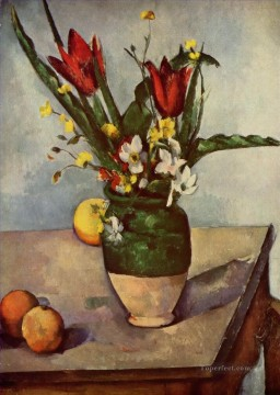 Paul Cezanne Painting - Still Life Tulips and apples Paul Cezanne