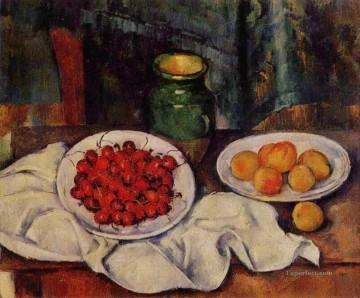 Paul Cezanne Painting - Still Life with a Plate of Cherries 1887 Paul Cezanne