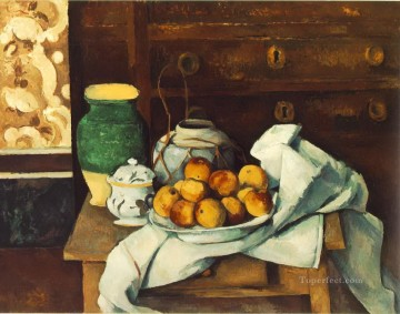 Still life in front of a chest of drawers Paul Cezanne Oil Paintings