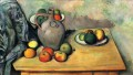 Still life jug and fruit on a table Paul Cezanne