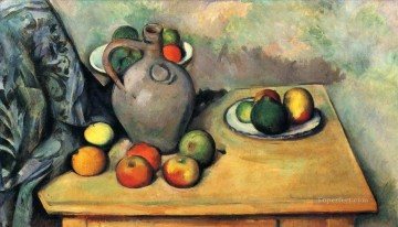 Fruit Painting - Still life jug and fruit on a table Paul Cezanne