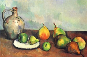 Fruit Painting - Still life pitcher and fruit Paul Cezanne