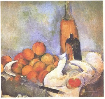 Apples Art - Still life with bottles and apples Paul Cezanne