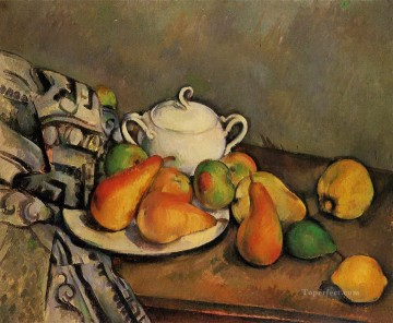 Sugarbowl Pears and Tablecloth Paul Cezanne Oil Paintings