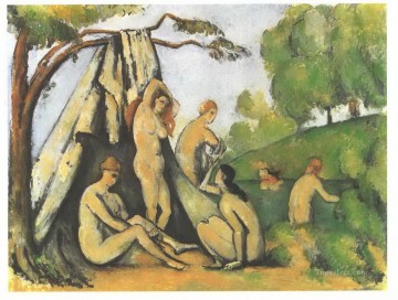 Bathers in front of a tend Paul Cezanne Oil Paintings