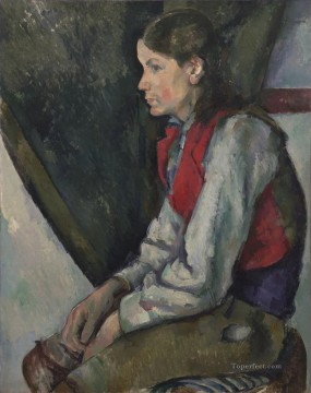 Boy in a Red Vest 3 Paul Cezanne Oil Paintings