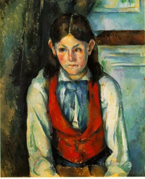 Paul Cezanne Painting - Boy in a Red Vest 4 Paul Cezanne