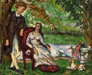 Paul Cezanne Painting - Couple in a Garden Paul Cezanne