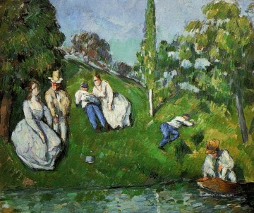 AX Painting - Couples Relaxing by a Pond Paul Cezanne