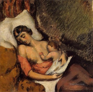 Paul Cezanne Painting - Hortense Breast Feeding Paul Paul Cezanne