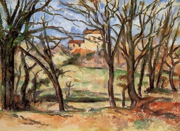 Road Oil Painting - House behind Trees on the Road to Tholonet Paul Cezanne