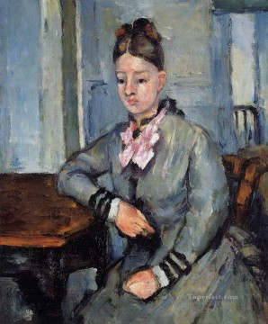 Madame Cezanne Leaning on a Table Paul Cezanne Oil Paintings