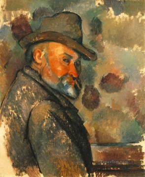hat Oil Painting - Self Portrait in a Felt Hat Paul Cezanne