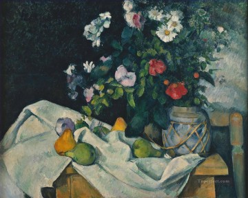 Fruit Painting - Still Life with Flowers and Fruit Paul Cezanne