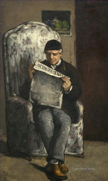 Artists Oil Painting - The Artists Father Reading his Newspaper Paul Cezanne