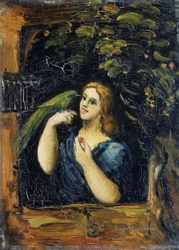 Woman with Parrot Paul Cezanne Oil Paintings