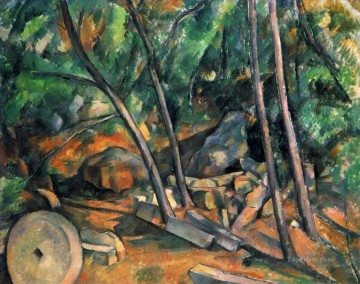 Paul Cezanne Painting - Woods with Millstone Paul Cezanne