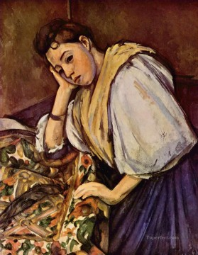 Italian Painting - Young Italian Girl Resting on Her Elbow Paul Cezanne
