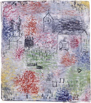 Paul Klee Painting - Small Landscape with the village church Paul Klee